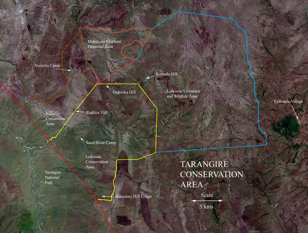 Map of Tarangire Conservation Area